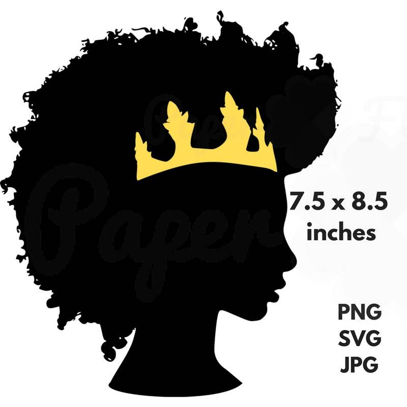 800x800 Afro Crown Silhouette Svg Clip Art Black Natural Hair Png Files