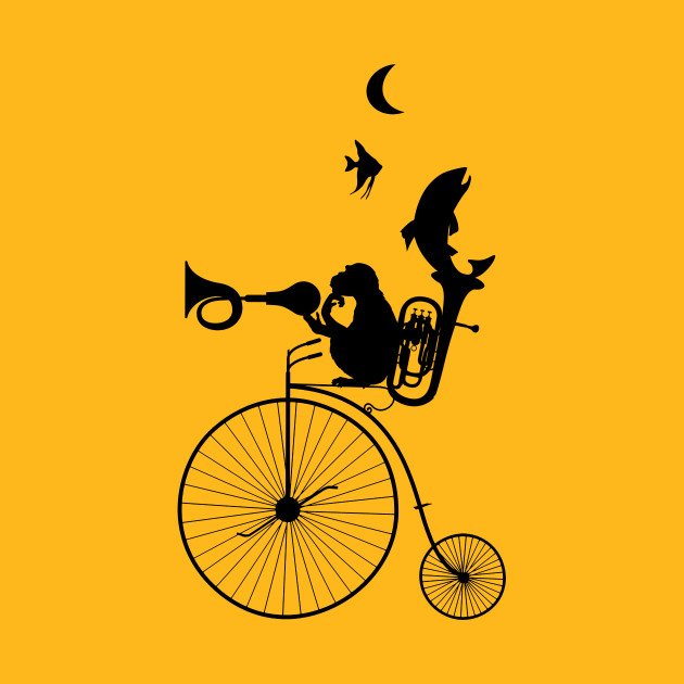 630x630 Monkey Bicycle Bike Fish Horn Horn Tuba Saxophone Moon