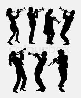 265x320 Set Of Different Vector Silhouettes Wind Instruments Stock