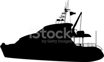 334x200 Luxury Yacht Silhouette Stock Vectors