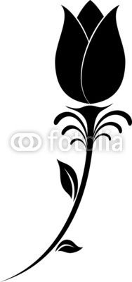 188x400 Black Silhouettes Of Tulips. Vector Illustration.