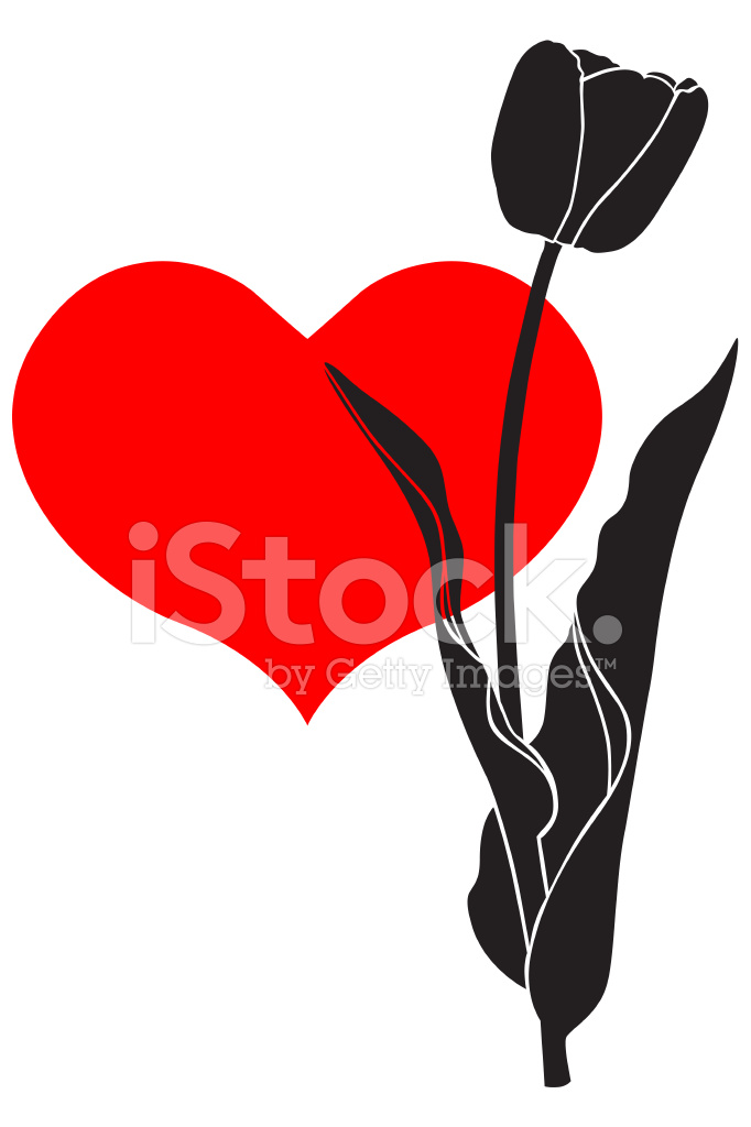 682x1024 Silhouette Tulip Flower Stock Vector