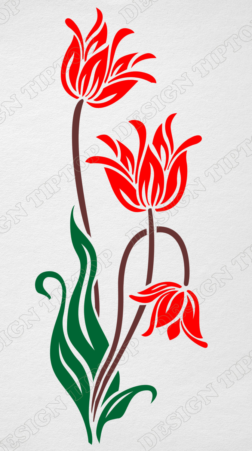 838x1500 Tulip Svg, Print And Cut, Flower Svg, Dxf Files, Cricut Cutting