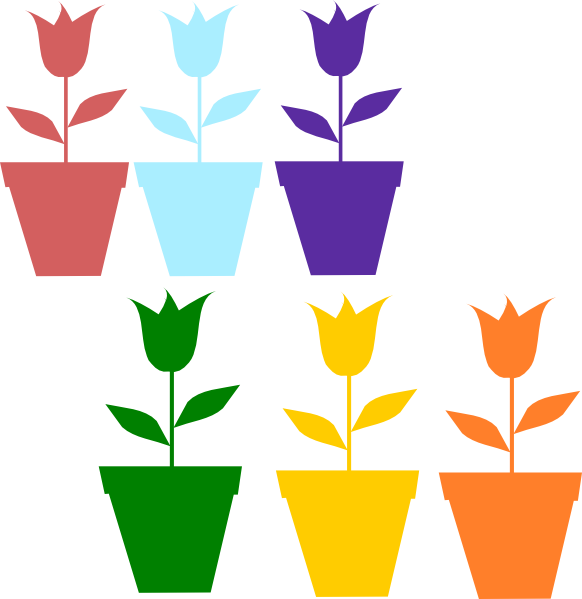 582x599 Tulips In Pot Silhouettes Clip Art