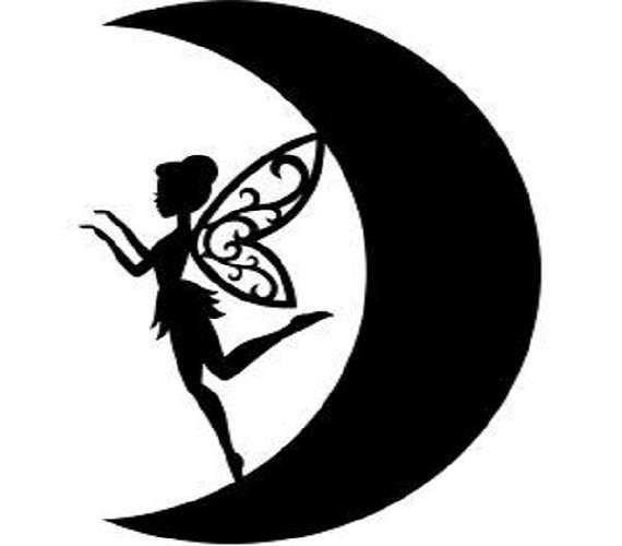 570x500 Fairy On Moon Silhouette Decal, Car Decal, Window, Wall, Laptop