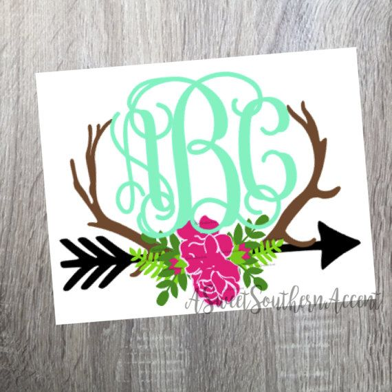 570x570 Floral Antler Arrow Monogram Decal For Laptop, Cup, Cell Phone