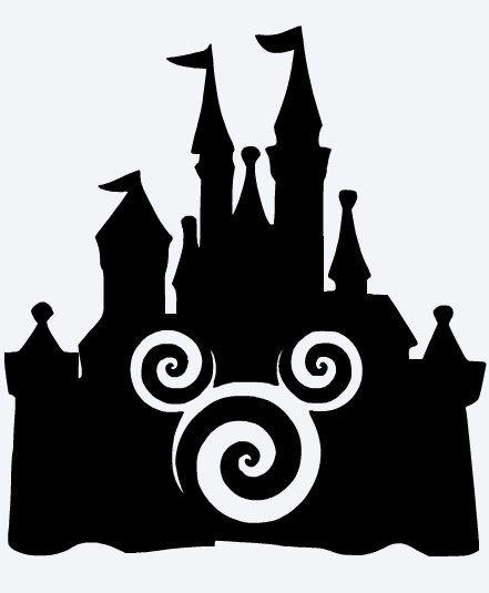 441x535 Swirl Mickey Disney Castle Vinyl Decal Picture Frame Window