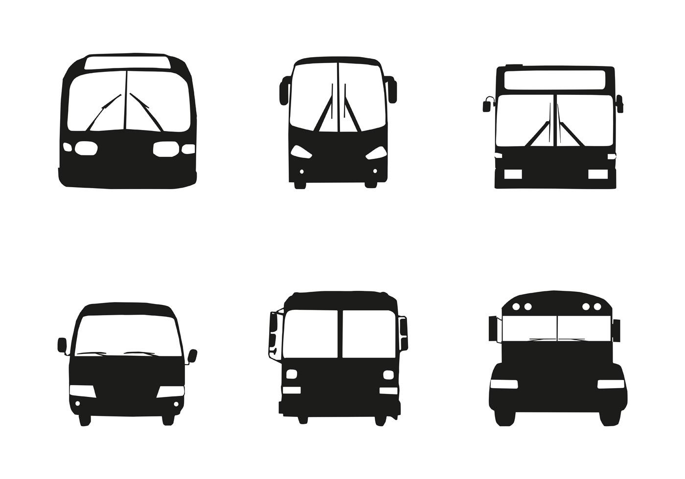 1400x980 Six Different Bus Car Silhouette Front On A White Background