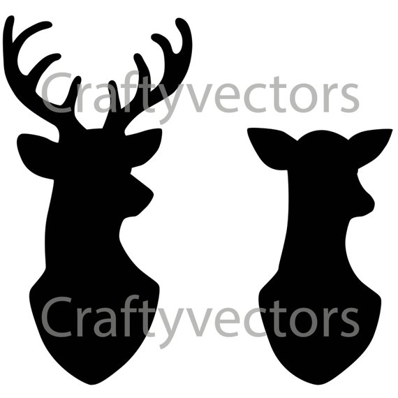 570x570 Stag Amp Doe Head Silhouettes Vector File Svg