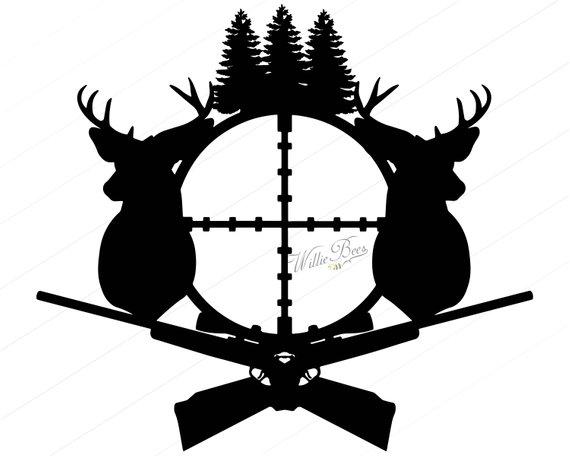 570x456 Deer Hunting Svg Silhouette Clipart Gone Hunting Deer