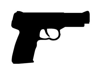 320x244 Hand Gun Silhouette Decal Sticker