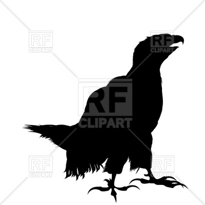 400x400 Standing Bald Eagle Silhouette Royalty Free Vector Clip Art Image