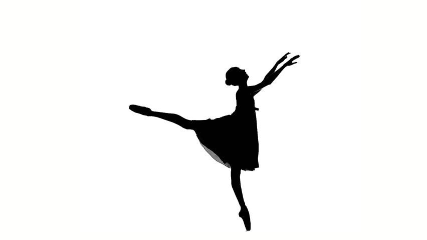852x480 Silhouette Of Ballerina In Classical Tutu In The White Studio. 20s