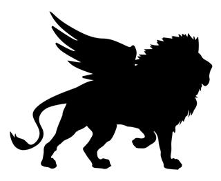 320x262 Winged Lion Silhouette Decal Sticker