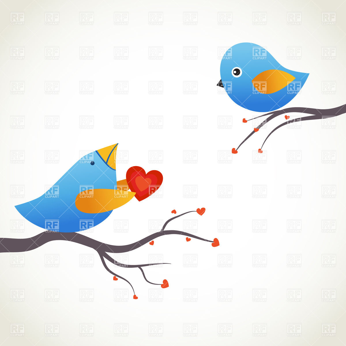 1200x1200 Two Blue Birds On The Branches Royalty Free Vector Clip Art Image