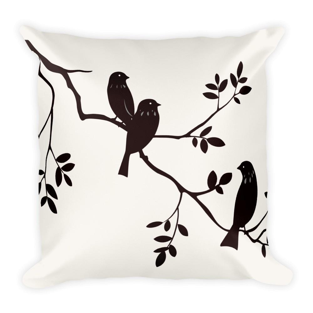 1000x1000 Black Bird Silhouette Throw Pillow 18 Square Blueberry Lane Shop