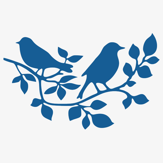 650x651 Branches On The Bird, Blue, Two Birds, Silhouette Png Image