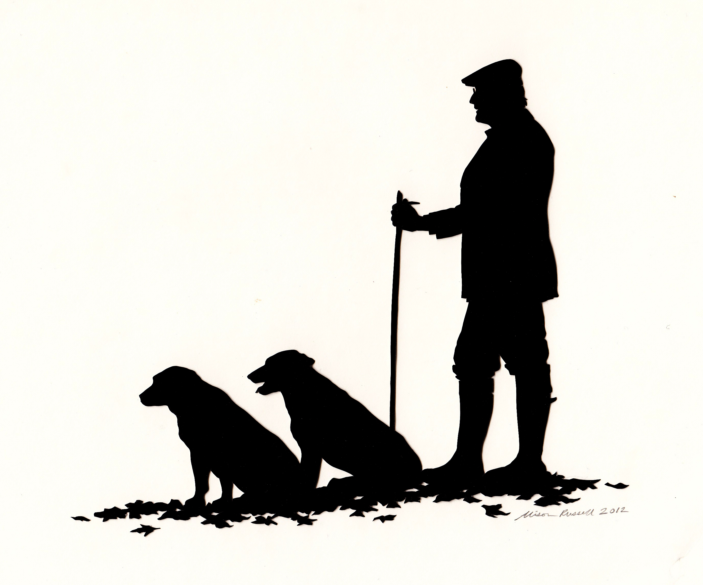 2740x2280 Man With Two Dogs Silhouette Artist Portrait Cuttings Uk