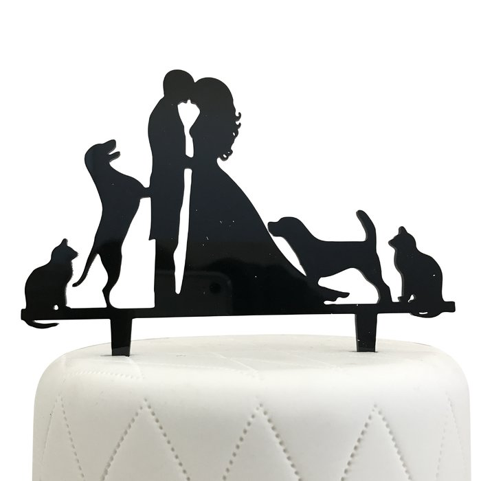 700x700 Unik Occasions Bride, Groom, Two Dogs Amp Two Cats Silhouette