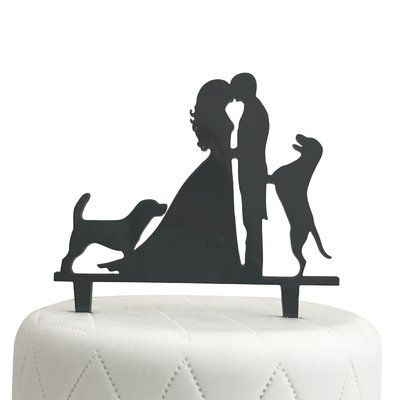 400x400 Unik Occasions Bride, Groom And Two Dogs Silhouette Acrylic Cake