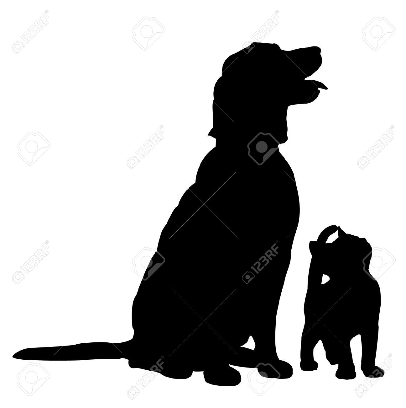 1296x1300 Dog And Cat Outline