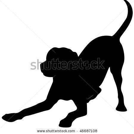 450x452 Dog Stretching Silhouette