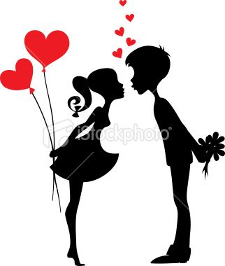 322x380 Silhouette Of Two People With Red Hearts Couple Silhouette