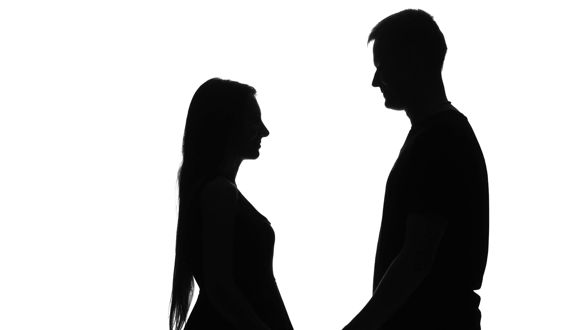 1920x1080 Two Lovers Embracing And Kissing. Love. Silhouette. White Stock