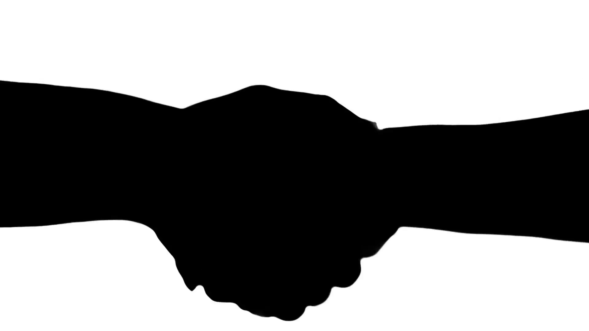 1920x1080 Shaking Hands Of Two People, Silhouette Isolated On White. Stock