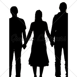 325x325 Silhouette Of A Woman And Two Men Holding Hands Gl Stock Images