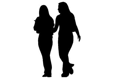 400x277 2d Silhouette, Two Women Talking