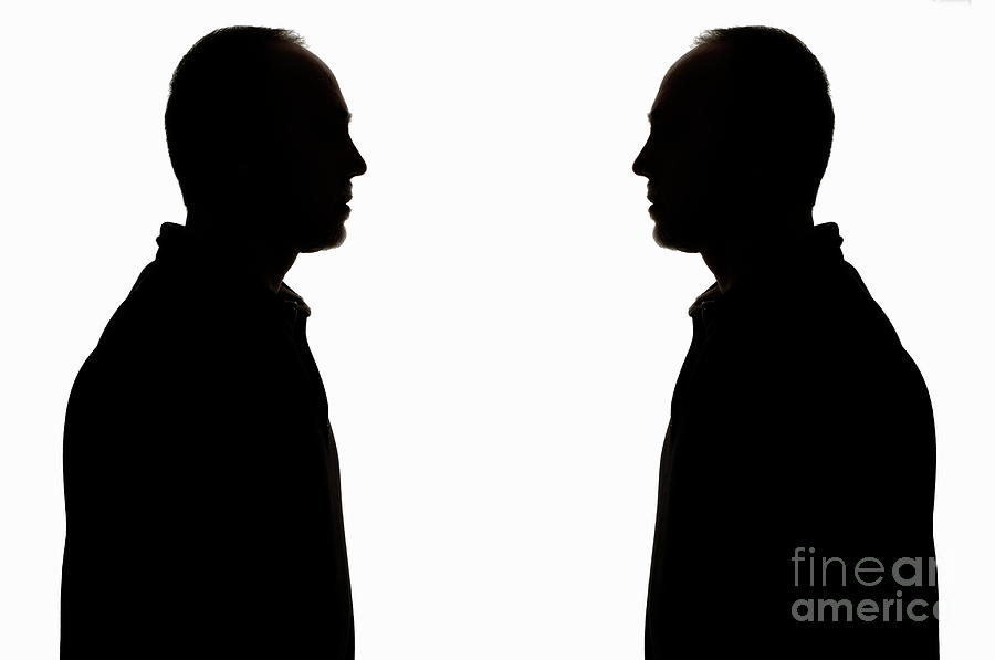 900x597 Silhouette Of Two Men Face To Face Photograph By Sami Sarkis