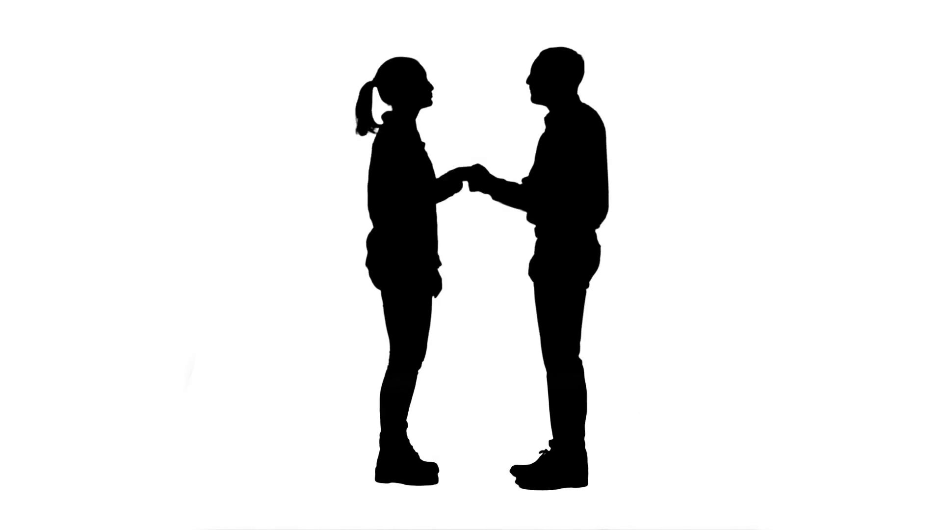 1920x1080 Silhouette Two Young People In Casual Shake Hands, Look