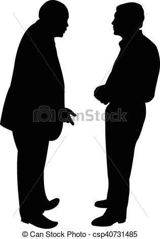 316x470 Black Silhouettes Of Two Men Standing And Talking To Each