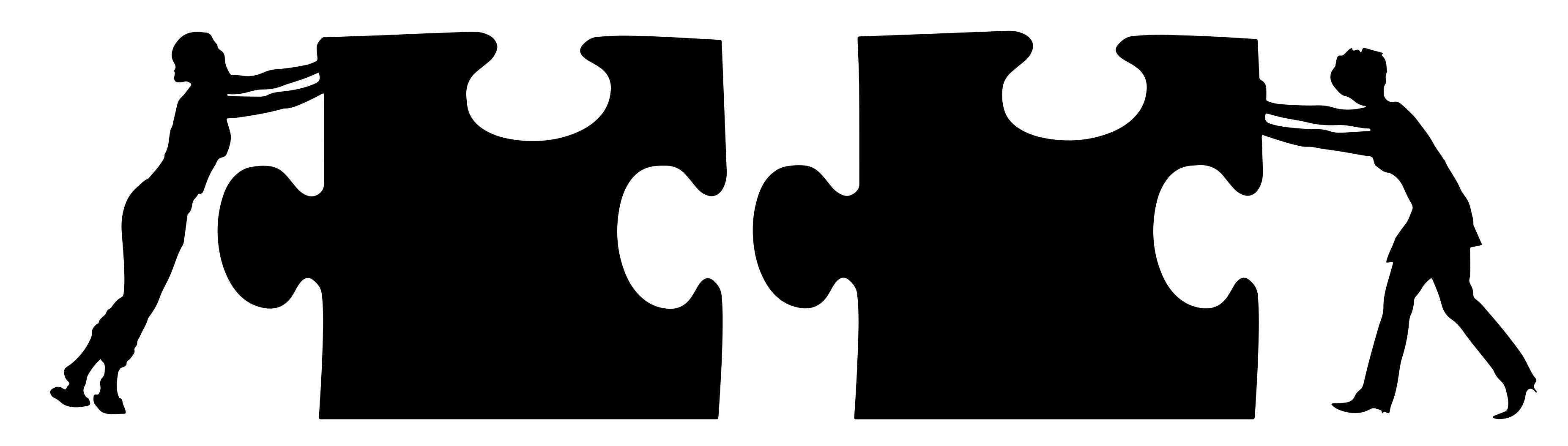 3709x1056 Two Women, Two Puzzle Pieces Silhouette Clipart