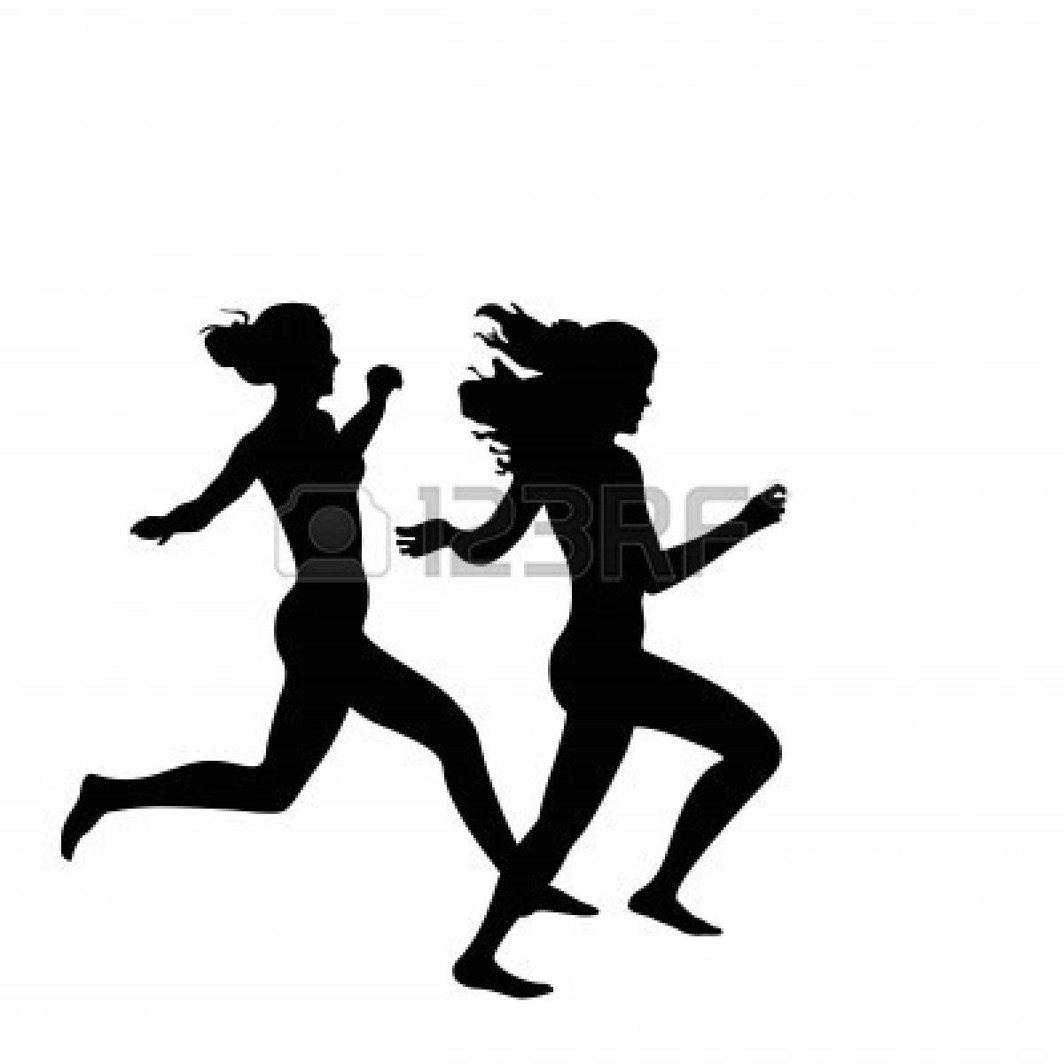 1200x1200 Two Women Running Clipart