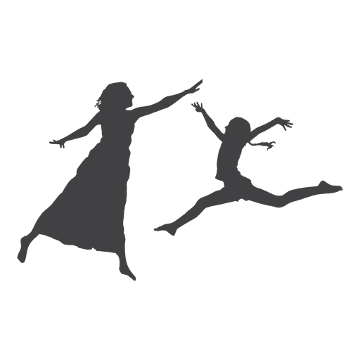512x512 Two Women Jumping Silhouette