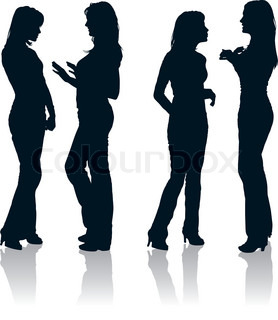 278x320 Vector Set Of Young Women Gesturing Silhouettes Stock Vector
