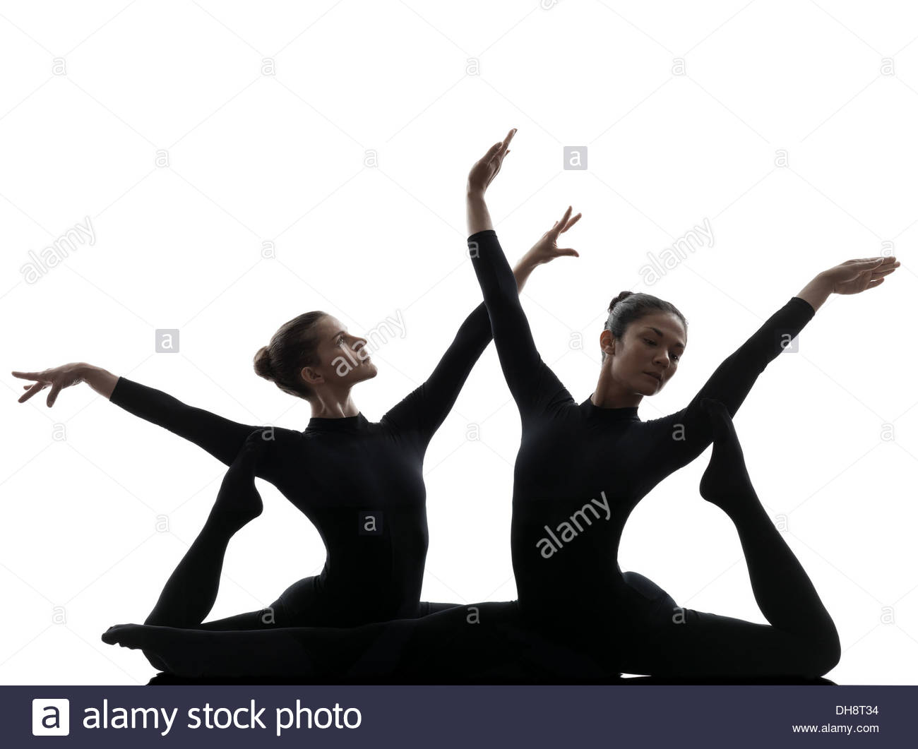 1300x1061 Two Women Contortionist Practicing Gymnastic Yoga In Silhouette