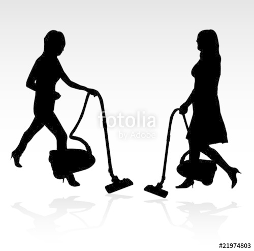 500x493 Two Women With A Vacuum Cleaner Silhouette Stock Image