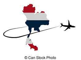 264x194 Uk Map Flag With Plane Silhouette And Swoosh Illustration Stock