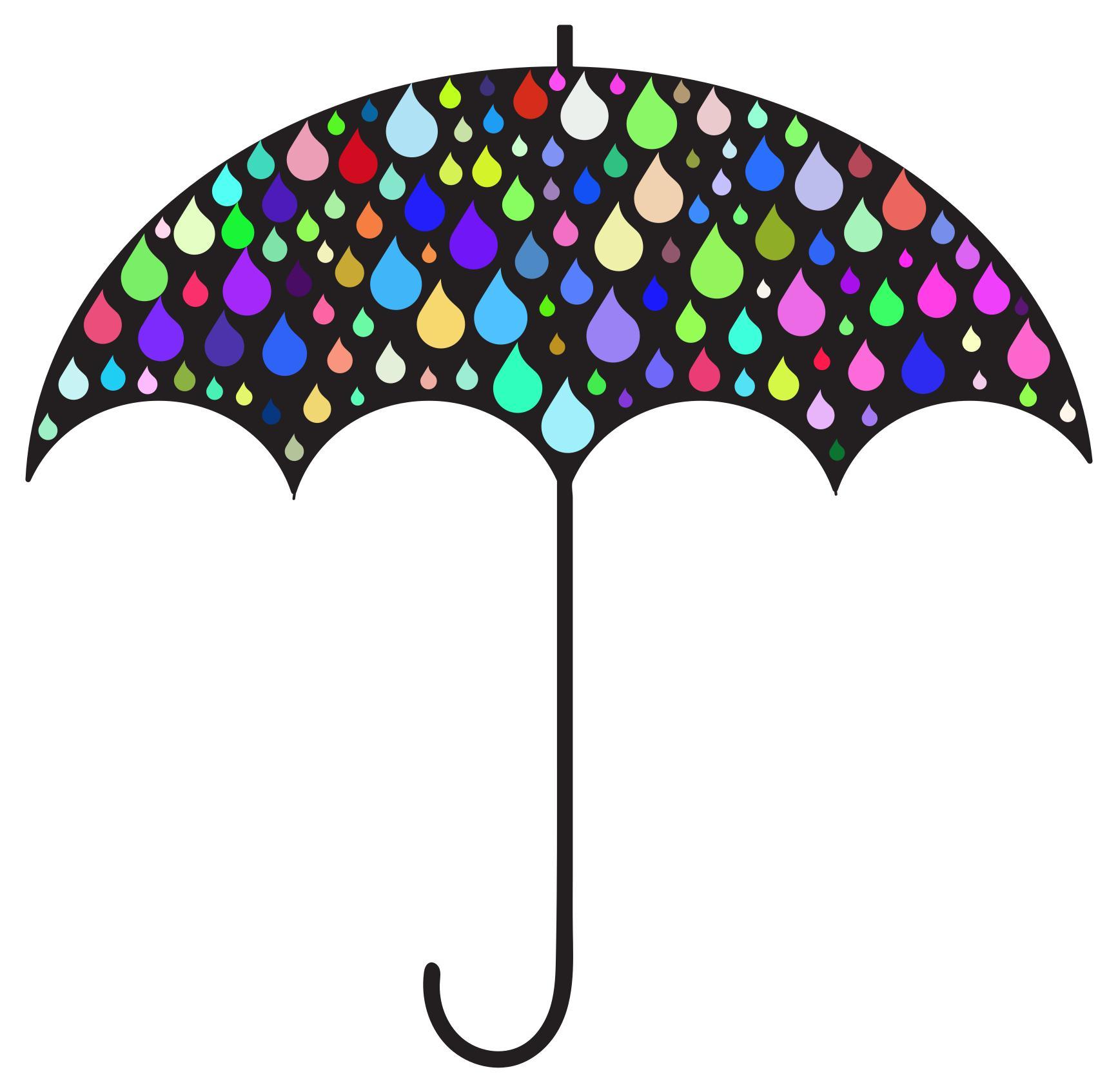 1734x1694 Prismatic Rain Drops Umbrella Silhouette Clipart