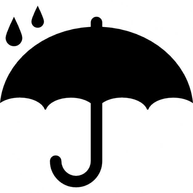 626x626 Protection Symbol Of Opened Umbrella Silhouette Under Raindrops