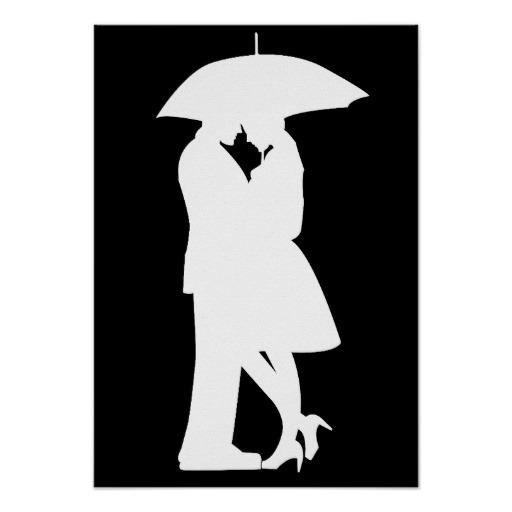 512x512 Kissing Under Umbrella Silhouette Crayon Art