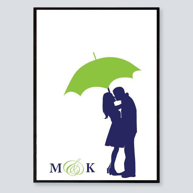 636x636 Personalized Wedding Gift, Name Print, Couple Under Umbrella