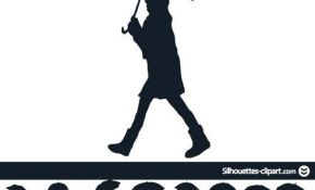 290x175 30 Lovely Couple Under Umbrella Silhouette Painting