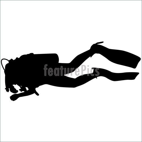 500x500 Underwater Diving Black Silhouette Scuba Divers.