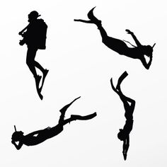 236x236 Couple Diver Scuba Diving Adventure Silhouette Clipart