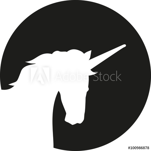 500x500 Unicorn Head Silhouette In Front Of Moon