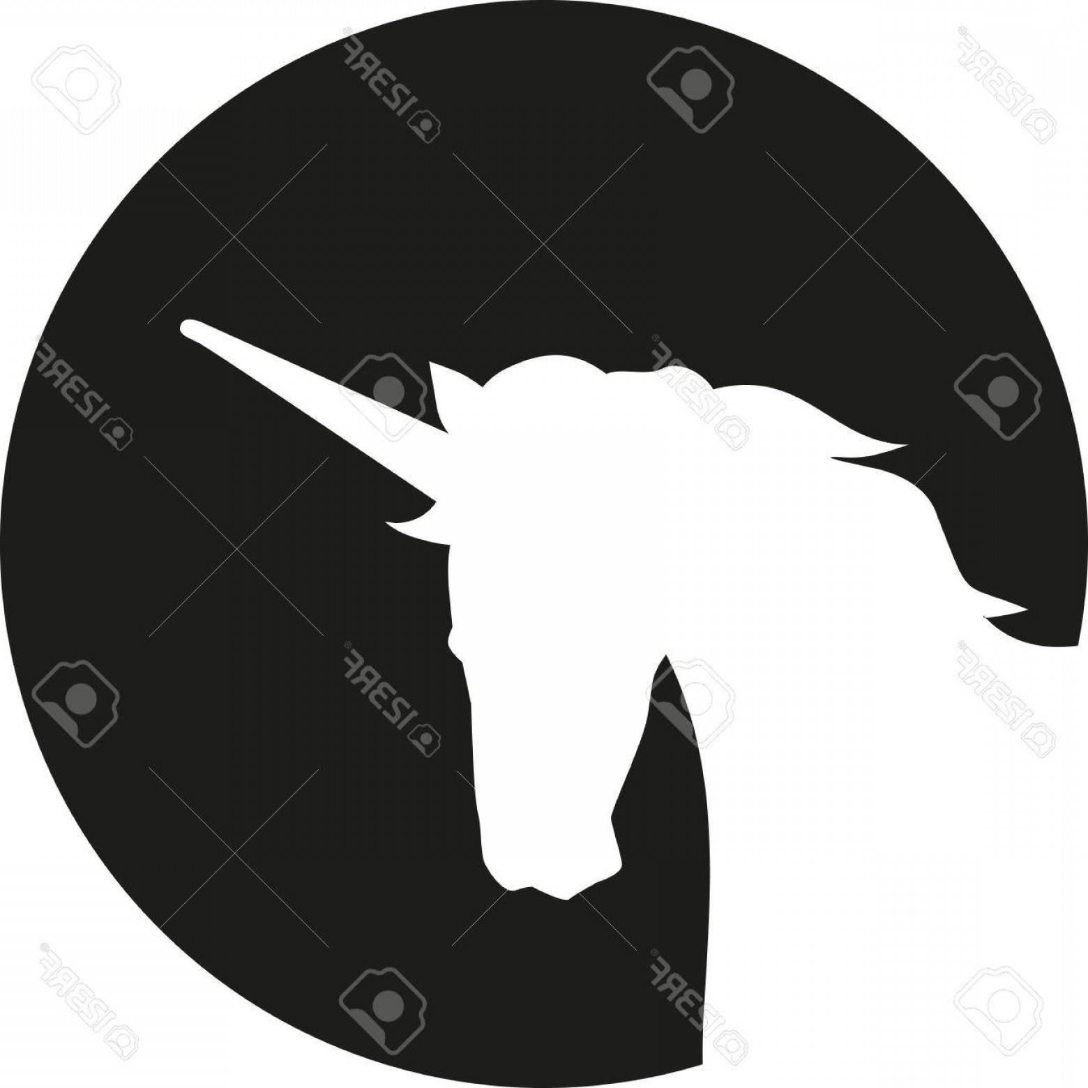 1560x1560 Photostock Vector Unicorn Head Silhouette In Front Of Moon